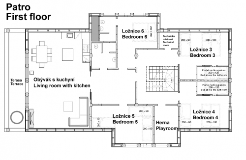layout v patře - first floor
